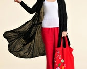 Ivy/ Pleated Silk Linen Blend Long Blouse with Big Pockets/Doubles as Summer Evening Cover/ Easy to Wear! /  20 Colors/ RAMIES
