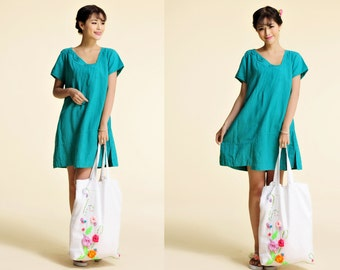 Blue Margerite /Lovely Asymmetrical Linen Dress with Handmade Flowers/ Ideal hot weather dress! /31 Colors/ ANY SIZE/ RAMIES