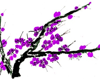 Plum Blossom - Purple - Notecard, set of 5