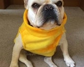 French Bulldog Frenchie Yellow Tie Dyed Fleece Jacket with Stand Up Collar