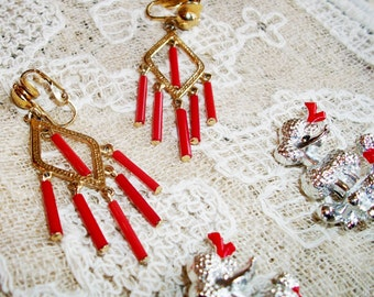 VINTAGE EARRINGS & PINS, Clip-On Chandelier Earrings Gold Tone w/Red Glass Tube Beads, Silver Scatter Pins (2) Poodles w/ Red Bows