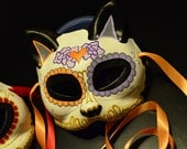 Heart my Kitty Day of the Dead Cat Mask - Dia De los Muertos -  Pink Red Blue Green Orange Purple Coloe choice - Tattoo Flash