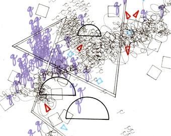 """Language 3, small, abstract, original, 6"""" x 8"""" drawing"""