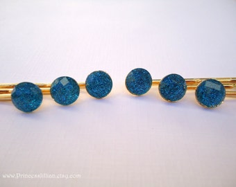 Cabochon hair clips - Mini shimmery cobalt blue glitter faceted resin gem jewel shiny sparkly gold decorative hair accessories TREASURY ITEM