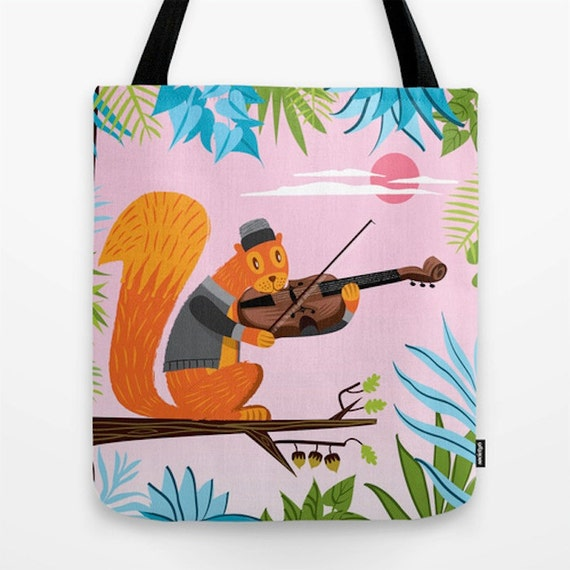 "Red Squirrel Serenade - Tote Bag / Book Bag - 16"" x 16"""