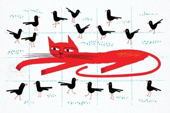 Cat Amongst The Pigeons - Animal art - childrens poster -  wall art print - iOTA iLLUSTRATiON