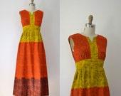 SALE! 1970s Hawaiian Dress / Alfred Shaheen Cotton Maxi Dress