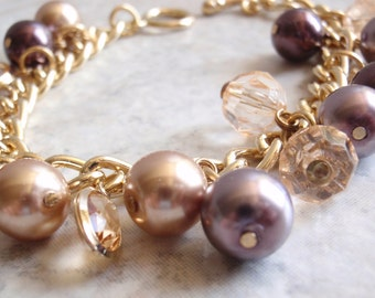 Faux Pearl Bracelet Champagne Plum Beaded Gold Tone Chain Festive 7 Inch Vintage V0280
