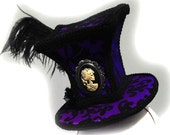 Gothic Hat, Mad Hatter Hat, Skull Cameo, Ostrich Feather,  FREE SHIPPING
