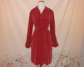 early 50s red cotton velour day dress 1950s 40s button up collared pin up hourglass fitted holiday winter day dress size medium