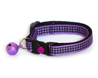 Houndstooth Cat Collar - Purple - Small Cat / Kitten Size or Large Size