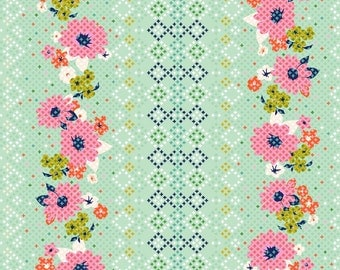 LAST Yard from Melody Miller's Mustang Collection for Cotton + Steel -Rose Border in Multi