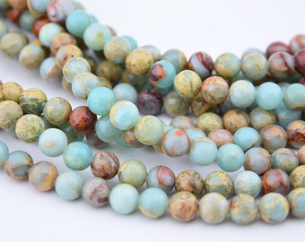 16  inch 8MM Blue Sea Sediment , Aqua Terra Jasper  Round Bead
