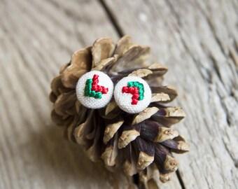 Christmas jewelry - Arrow stud earrings - cross stitch earrings - hand embroidery - textile jewelry - e009red