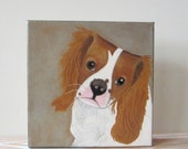 dog portrait-custom painting- 8x8 portrait- dog lover gift idea- painting of your dog-redtilestudio
