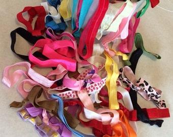 100 headbands : Such A Deal Collection of ribbon elastic head bands, Grab bag of headbands