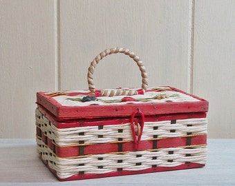 Musical Sewing Box Woven Basket Mid Century Red White