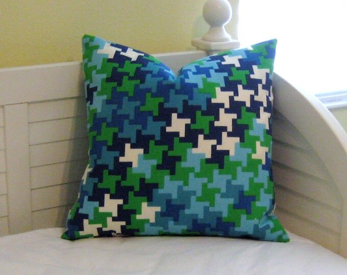 SALE -Trina Turk for Schumacher Jax Print in Azure on BOTH SIDES Indoor Outdoor Designer Pillow Cover - Square, Euro and Lumbar Sizes