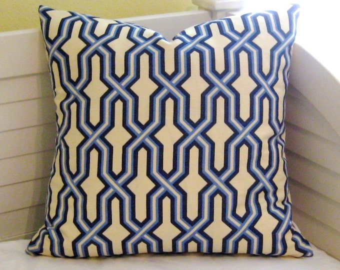 Quadrille China Seas Gorrivan Fretwork in French Blue and Navy Designer Pillow Cover - Square, Euro  and Lumbar Sizes