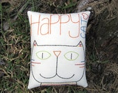 Happy Cat Pillow, Primitive Hand Embroidered Stitchery, Original Design, Colorful Red Orange Green Blue Black, Tabby Striped Kitty, HAFAIR