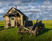 Covered Wagon Prairie Schooner and Log Cabin in 1880 Town Museum Farm in South Dakota No.32442 - a Fine Art Plains Landscape Photograph