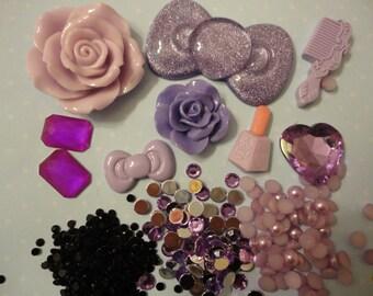 Kawaii decoden deco phone diy cabochon charm purple kit   B 30---USA seller