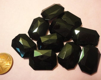 Kawaii Black octagonal rhinestones   10 pcs---USA seller