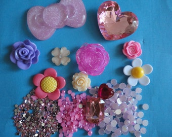 Kawaii cabochon decoden deco diy big pink bow kit  Z---USA seller