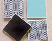 Turquoise and Black & White Ceramic Tile Magnets Set of 4