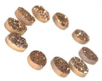 Amazing Grade AAA 3 Pieces Brown / Bronze Oval Calibrated Druzy Agate Cabochon 8x10mm B70DR8250