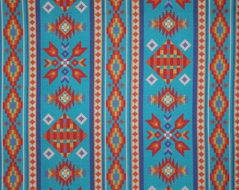 Turquoise and Orange Southwest  Tucson Print Pure Cotton Fabric--One Yard