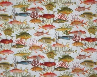 Allover All Kinds of Fish Print Pure Cotton Fabric--One Yard