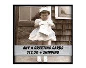 GREETING CARDS - 4 for 12 DOLLARS plus combined shipping - Vintage and Retro Inspired Cards