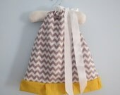 Grey Chevron Pillowcase Dress, 12-18 Months, Fully Lined, Ready to Ship
