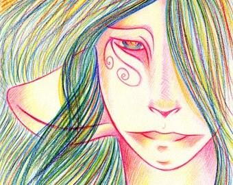Original Drawing Rainbow Colours Fantasy Art