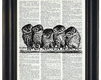 BOGO SALE Owls on Branch Dictionary Art Print Wall Art Print Upcycled Owl Dictionary Print