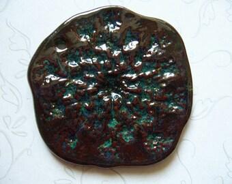 Dark Cinnamon Surprise Queen Anne's Lace Ceramic Pendant