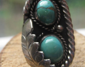 Vintage Old Pawn Southwestern Handmade Turquoise Ladies Womens Ring Size 6 1/2
