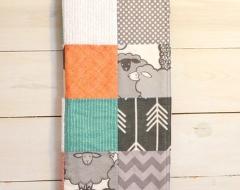 Toddler/Crib Size - Sheep, Orange Teal, Gray, White - Patchwork Blanket -You Pick the Fabrics