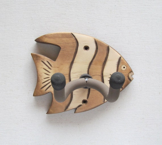 Guitar Hanger Wall Mount Holder Hand Carved Striped By