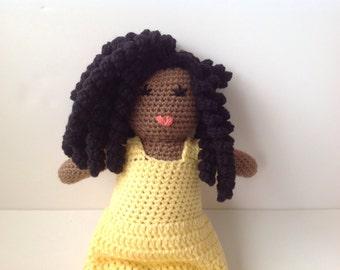 Crochet African American Doll amigurumi