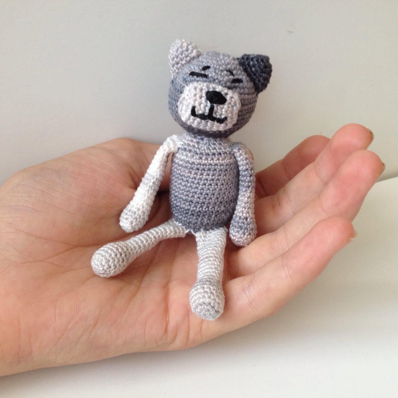 Amigurumi Tabby Cat : Crochet Grey Amigurumi Tabby Cat Tiny by pigswife on Etsy