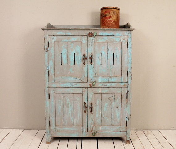 SALE Blue Antique Indian Kitchen Cupboard Bathroom Cabinet