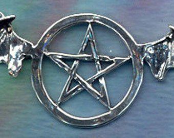 Jewely Finding Bat Wing Pentacle Centerpiece Wiccan Jewelry Sterling Silver Pent125
