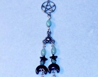 Long Elaborate Pentacle Pentagram Earring / Cuff Sterling Silver and Gemstones 0814P79EC01