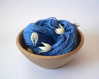 SALE Handspun Art Yarn Silk Cocoon Flowers -Sky Garden 116 yards DK weight