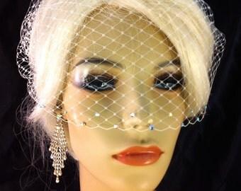 "Birdcage Veil, 9""x 15""  Birdcage Bandeau Veil with Swarovski Crystal Rhinestone Edge, Bridal Veil, Ivory, White, Champagne or Black"