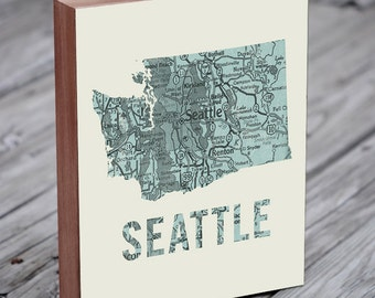 Seattle Map Art - Seattle Print - Seattle Art - Seattle Washington Map Print - Wood Block Wall Art Print - Seattle Map