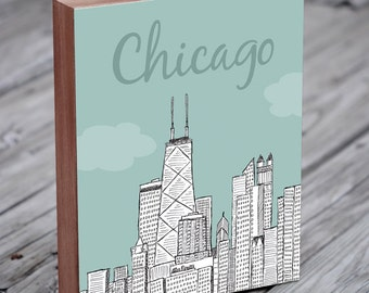 Chicago Art - Chicago Skyline - Chicago Illustration Art - Wood Block Wall Art Print - City Art