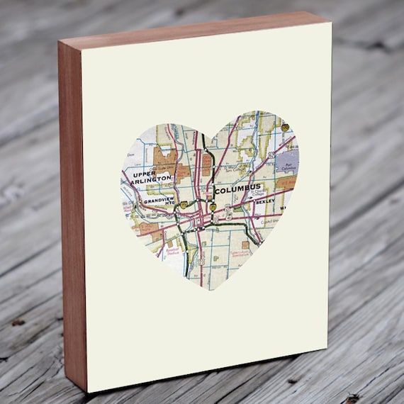 Columbus Ohio Map - Columbus Map - Ohio state Map - Wood Block Art Print
